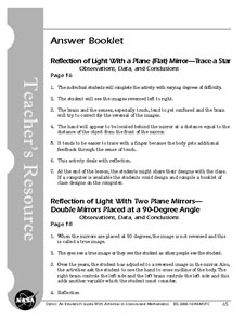 First page of Optics Educator Guide Answer Booklet
