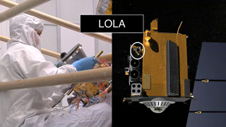 photo of LOLA instrument and concept image of its placement on LRO