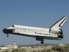 Atlantis lands on Runway 22 at Edwards Air Force Base in California.