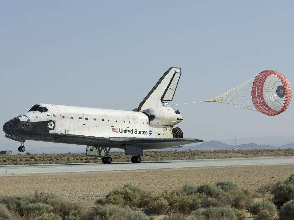 during a space shuttle landing a parachute deploys - photo #16