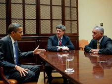 President Barack Obama meets with General Charles Bolden, right, and White House aides.