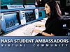 A woman sitting at a computer console with the words NASA Student Ambassadors Virtual Community underneath