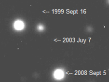 This movie shows the star VB 10 moving across the sky over a period of nine years.