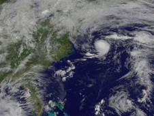 The GOES Satellite captures the first tropical depression of the Atlantic Ocean hurricane season