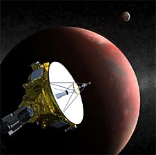 A drawing of a spacecraft and a partial view of Pluto