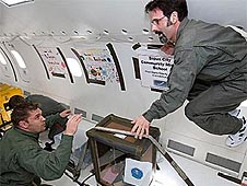 Teachers with their experiment on a reduced-gravity flight
