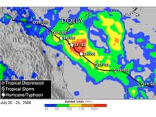 Amount of rainfall attributed to Hurricane Dolly