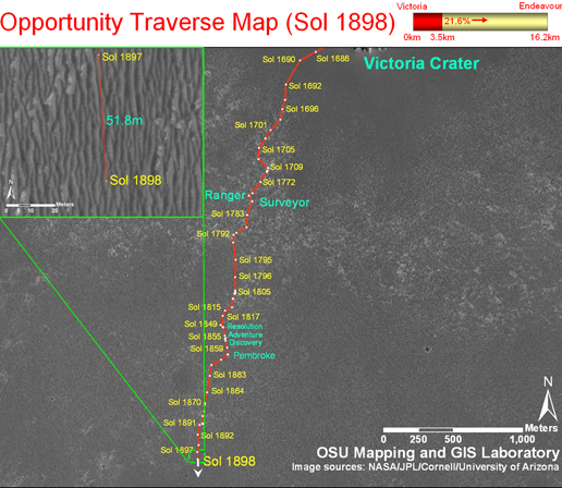 Opportunity's traverse map through Sol 1898