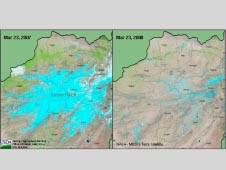 According to this 2008 MODIS image, snowpack was significantly lighter than normal in 2008 owing to the prevailing dry weather pattern across Afghanistan.
