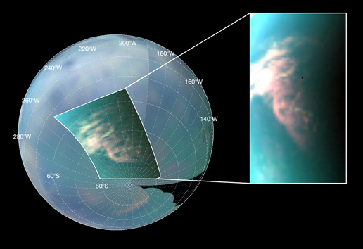 Titan's South Polar Cloud Burst
