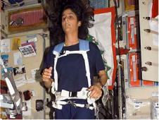 Astronaut Sunita Williams, exercises on the International Space Station.