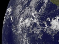 GOES-12 captured this image of the low pressure area in the Eastern Pacific on June 9, 2009