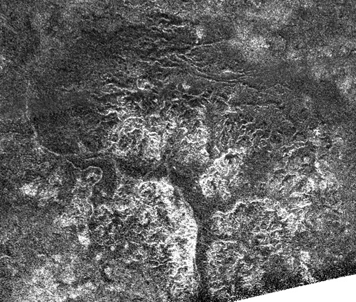 Image of Saturn's moon Titan displaying complex and unique canyon systems.