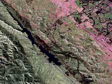 UAVSAR image of the San Andreas fault in the San Francisco Bay area just west of  San Mateo and Foster City