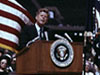 President John F. Kennedy speaks before an audience at Rice University on Sept. 12, 1962.