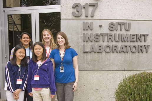 Clara Ma and her sister Remmy Ma with engineers Suparna Mukherjee, Jaime Waydo and then Julie Townsend.