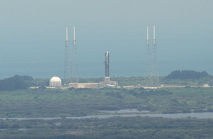 LRO/LCROSS atop the Atlas V launch vehicle on the launch pad