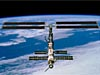 The space station with one set of solar arrays