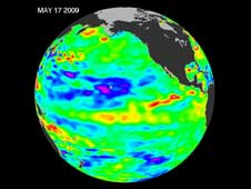 El Nino and La Nina Jason Data of sea levels from May 17, 2009.