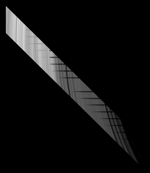 Image taken by the Cassini spacecraft illustrating the unilluminated side of the rings.