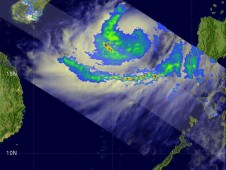 NASA/JAXA's TRMM satellite captured the rain falling within Cyclone Linfa as it passed overhead in space on June 18.