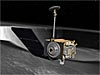 Artist's concept of LRO near a moon crater