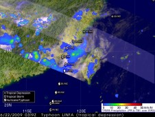 NASA's TRMM satellite captured Linfa's rainfall while on the China coast on June 22