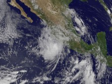 Tropical Storm Andres is seen in the middle of this GOES-11 satellite image, next to the western Mexican coast
