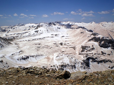 Dust-laden snow is visible in the San Juan Mountains, Colorado