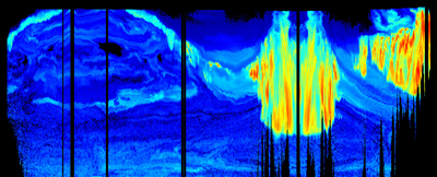 Arctic haze (blue) through a slice of the atmosphere, observed in spring 2008 with the High Spectral Resolution Lidar instrument