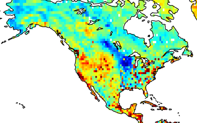 The carbon balance for North America for July 2004
