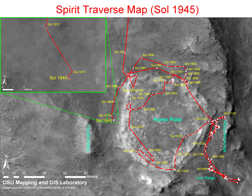 Traverse map until Sol 1923 for Mars Rover Spirit