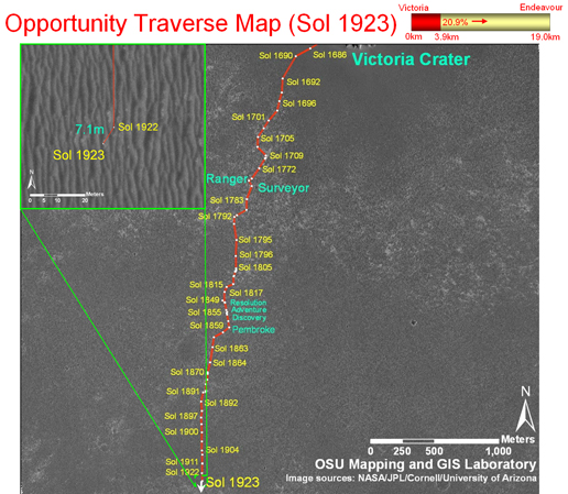 Traverse map until Sol 1923 for Mars Rover Opportunity