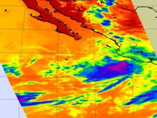 NASA's AIRS instrument captured the coldest thunderstorm cloudtops in Andres when he was a hurricane briefly on June 23.