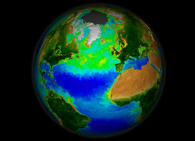 Still from animation representing data taken by the space-based SeaWiFS instrument, showing the seasonal abundance of plant life in the North Atlantic