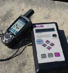 Hand held devices called sun photometers can detect the presence of aerosols by measuring how light scatters as it strikes the small airborne particles.