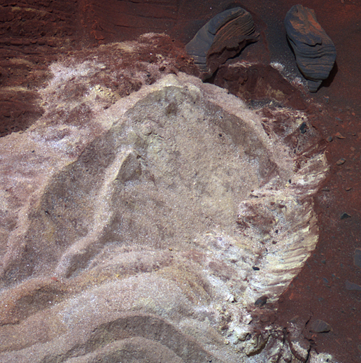 soft soil exposed when wheels of NASA's Mars Exploration Rover Spirit dug into a patch of ground