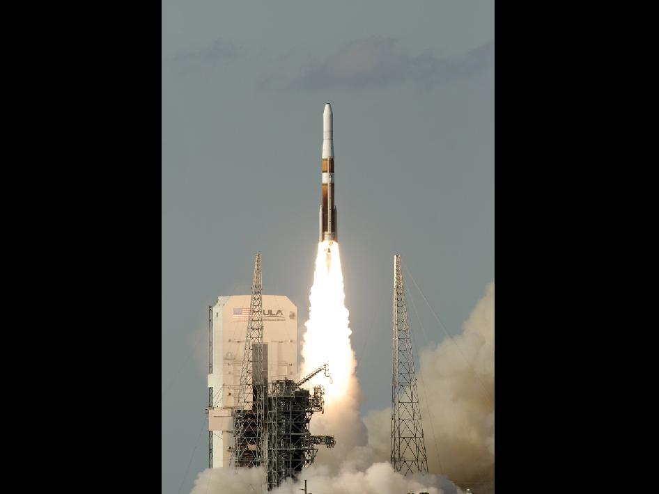 Liftoff of the Delta IV rocket carrying the GOES-O weather satellite.
