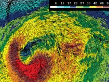 QuikScat image of a mature North Atlantic extratropical cyclone from December 1, 2004.