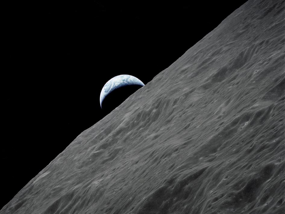 Crescent Earth as seen from Apollo 17 command module