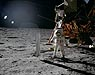 An astronaut standing on the moon