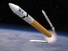 An artist's concept of solid rocket boosters falling away from an Ares V above Earth