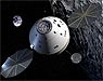 Artist's concept of the Orion spacecraft near the moon