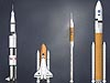 Artwork of Apollo, space shuttle and Ares rockets standing side by side