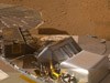 NASA's Phoenix Mars Lander shows a portion of the spacecraft's deck after deliveries of several Martian soil samples to instruments on the deck.