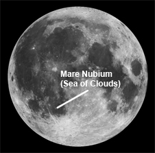 1994 Clementine image of moon with Mare Nubium labeled