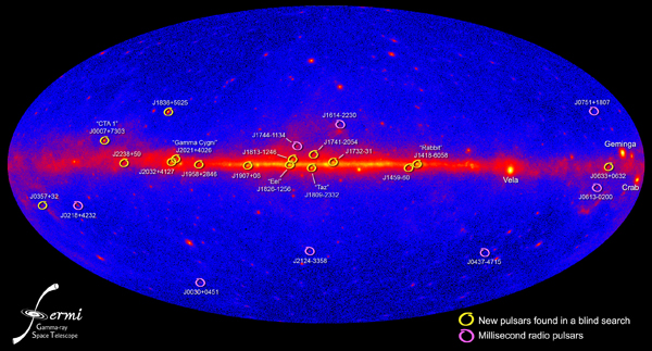All-sky map image showing the positions and names of 16 new pulsars