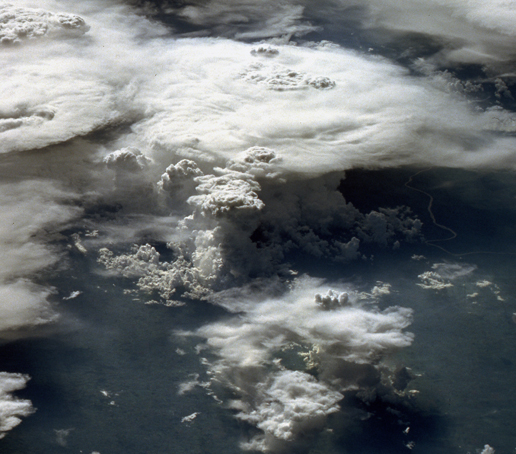An astronaut photo showing a series of mature thunderstorms located near the Parana River in southern Brazil.