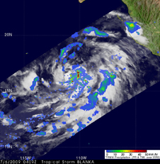 TRMM satellite image showing heavy rain, falling at about 2 inches per hour in Tropical Storm Blanca
