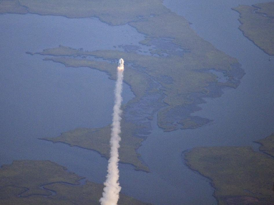 NASA helicopter bird's-eye view of Max Launch Abort System flight